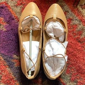 NEW IN BOX Lucky Brand Aviee Lace-Up Ballet Flats